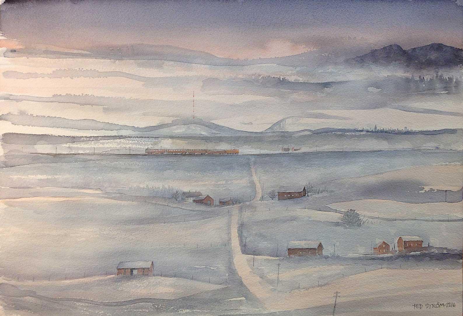 Landskap i upplösning Akvarell 49 x 34 cm 5.000 : –